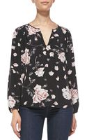 Joie Odelette Floral-print Silk Blouse Caviar W Rouge X-small - Lyst
