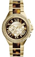 Michael Kors Camille Embellished Tortoise Acetate and Goldtone Stainless Steel Watch - Lyst