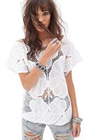 Forever 21 Floral Embroidered Crochet Top - Lyst