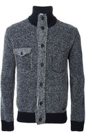 Woolrich Contrasting Ribbed Trims Cardigan - Lyst