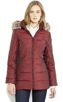 Anne Klein Hooded Faux Fur Trim Down Coat - Lyst