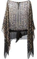 Roberto Cavalli Leopard Print Striped Top - Lyst