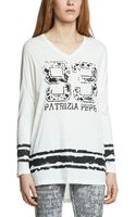 Patrizia Pepe Printed Cotton Jersey Top - Lyst