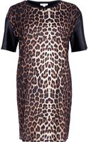 River Island Black Leopard Print Tshirt Dress - Lyst