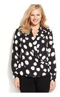 Inc International Concepts Plus Size Polka-dot Surplice Blouse - Lyst