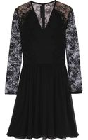 Elie Saab Lace-paneled Ponte and Chiffon Mini Dress - Lyst