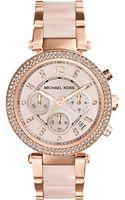 Michael Kors Ladies Parker Rose Goldtone Chronograph Glitz Watch - Lyst