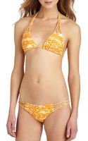 Mikoh Swimwear Coconuts Printed Crochet Detail Triangle Top - Lyst