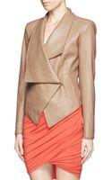 Helmut Lang Drape Collar Wrap Leather Jacket - Lyst