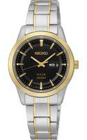 Seiko Womens Solar Twotone Stainless Steel Bracelet Watch 29mm Sut166 - Lyst