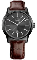 Hugo Boss Mens Architecture Black Watch with Leather Strap - Lyst