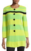 Misook Stripe Button-front Cardigan - Lyst