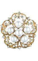 Jones New York Goldtone Faux Pearl and Crystal Flower Pin - Lyst