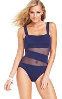 DKNY Illusion-trim One-piece Swimsuit - Lyst