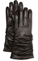 Grandoe Ruched Leather Tech Gloves - Lyst