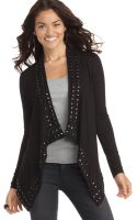 Guess Sweater Open Front Long Sleeve Studded Cardigan - Lyst