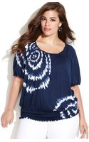 Inc International Concepts Plus Size Shortsleeve Tiedye Peasant Top - Lyst