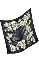 Roberto Cavalli Floral Print Twill Silk Square Scarf - Lyst