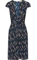 Issa Gathered Printed Jersey Dress - Lyst