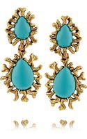 Oscar de la Renta Gold-plated Resin Clip Earrings - Lyst