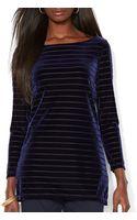 Ralph Lauren Lauren Striped Velvet Shirt - Lyst