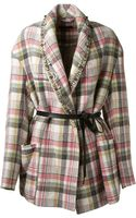 Isabel Marant Pink Green Black and Light Grey Plaid Pattern Milroy Jacket - Lyst