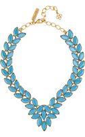 Oscar de la Renta Navette Gold Plated Cabochon Necklace - Lyst