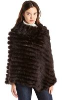 Surell Real Fur Poncho - Lyst