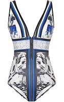 Clover Canyon Marble Party Printed Neoprene Swimsuit - Lyst