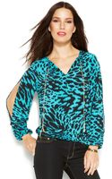 Michael Kors Michael Cold-shoulder Printed Top - Lyst