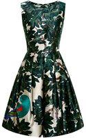 Oscar de la Renta Embroidered Silkblend Mikado Dress - Lyst