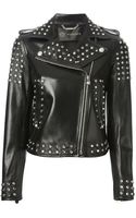 Versace Embellished Calf Leather Jacket - Lyst