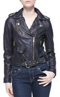 MICHAEL Michael Kors Cropped Leather Moto Jacket - Lyst
