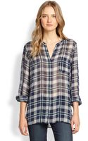 Joie Nura Sheer Plaid Silk Blouse - Lyst