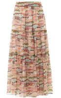 Missoni Multi Zigzagprint Silk Maxi Skirt - Lyst