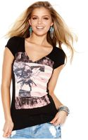 Guess Shortsleeve Vneck Graphic Tee - Lyst