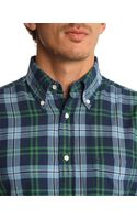 Gant Rugger Indigo Twill Blue and Green Checked Shirt - Lyst