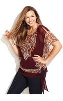 Inc International Concepts Plus Size Dolmansleeve Printed Top - Lyst