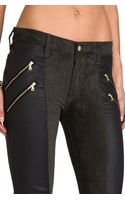 7 For All Mankind Double Zip Sueded Skinny in Green - Lyst