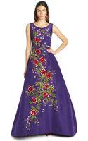 Oscar de la Renta Floral Embroidered Silk Faille Gown - Lyst