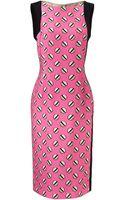 Giles Pink Screw Print Dress - Lyst
