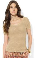 Lauren by Ralph Lauren Petite Shortsleeve Scoopneck Sweater - Lyst
