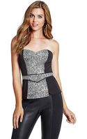 Guess Snake Jacquard Colorblock Corset Top - Lyst