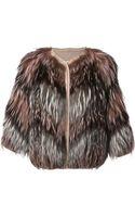 Yves Salomon Knitted Detail Fur Jacket - Lyst