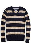 Tommy Hilfiger V Neck Stripe Sweater - Lyst