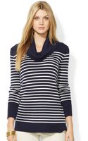 Lauren by Ralph Lauren Striped Cowl-neck Button-cuff Sweater - Lyst
