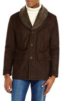 Andrew Marc Brown Shearling Collar Leather Jacket - Lyst