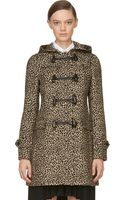 Saint Laurent Beige and Black Babycat Duffle Coat - Lyst