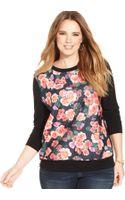 Soprano Plus Size Floral-print Sweatshirt - Lyst