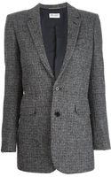 Saint Laurent Tweed Blazer - Lyst